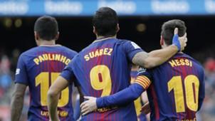 Luis Suarez Lionel Messi Paulinho Barcelona