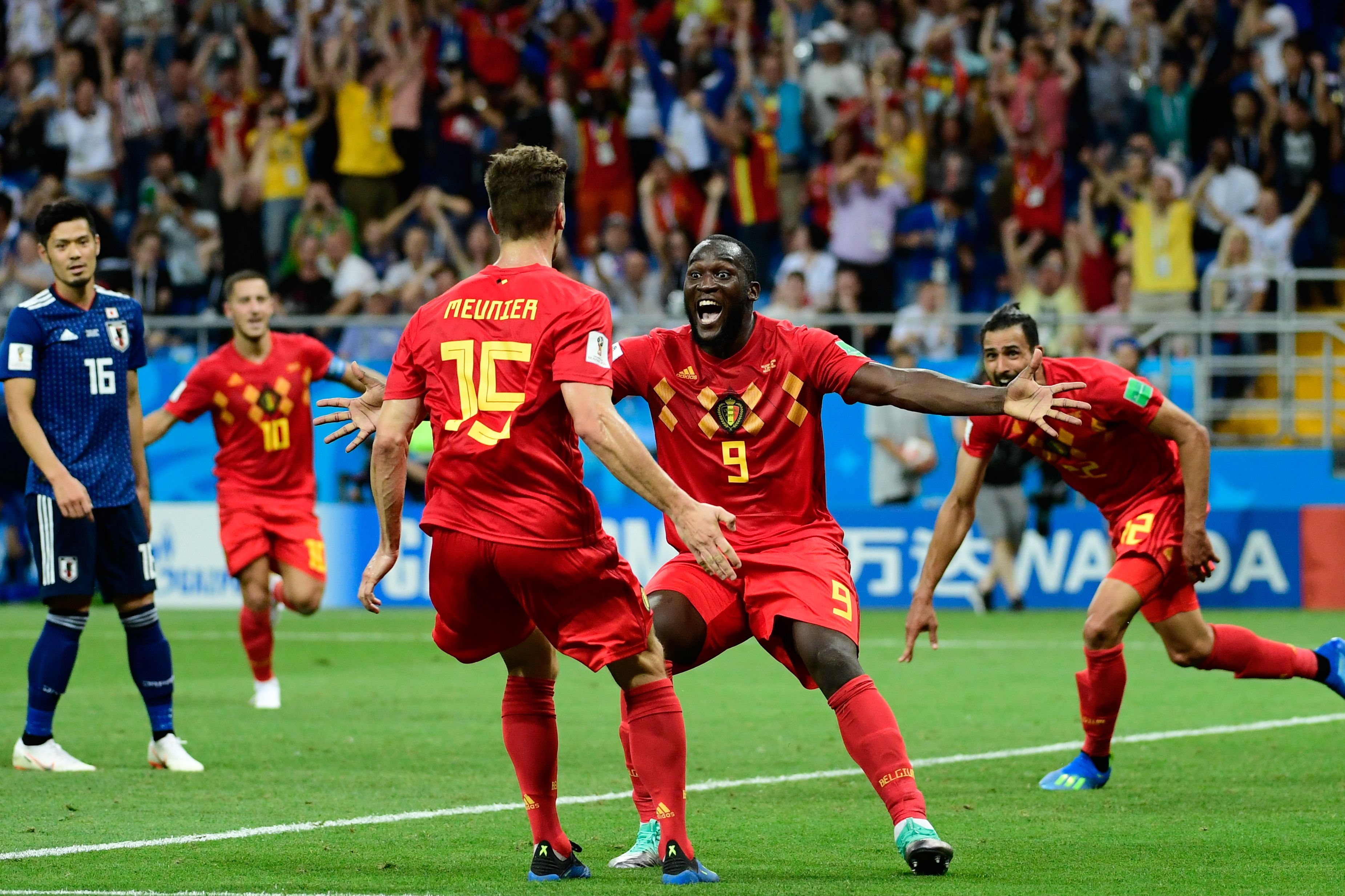 Thomas Meunier Romelu Lukaku Nacer Chadli Belgium Japan Goal Celebration World Cup 07/02/18
