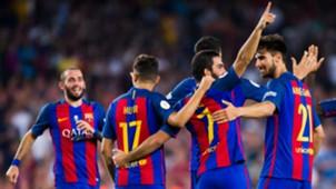 Arda Turan Aleix Vidal Munir El Haddadi Andre Gomes Barcelona Super Cup