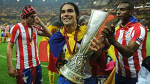 Radamel Falcao Atletico Madrid UEFA Europa League trophy