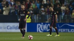 Lionel Messi Javier Mascherano Malaga Barcelona La Liga