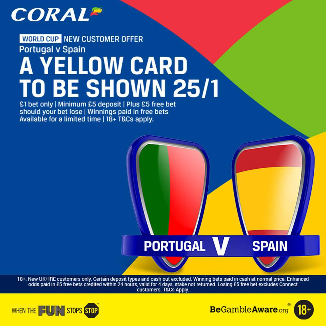 Portugal v Spain Betting Tips: 25/1 on a card to be shown in Sochi