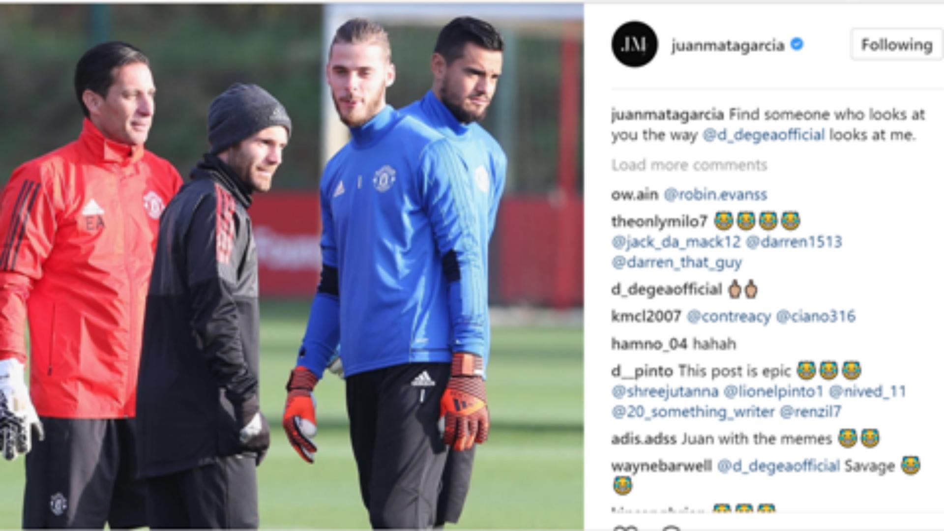 David de Gea Juan Mata Manchester United love post