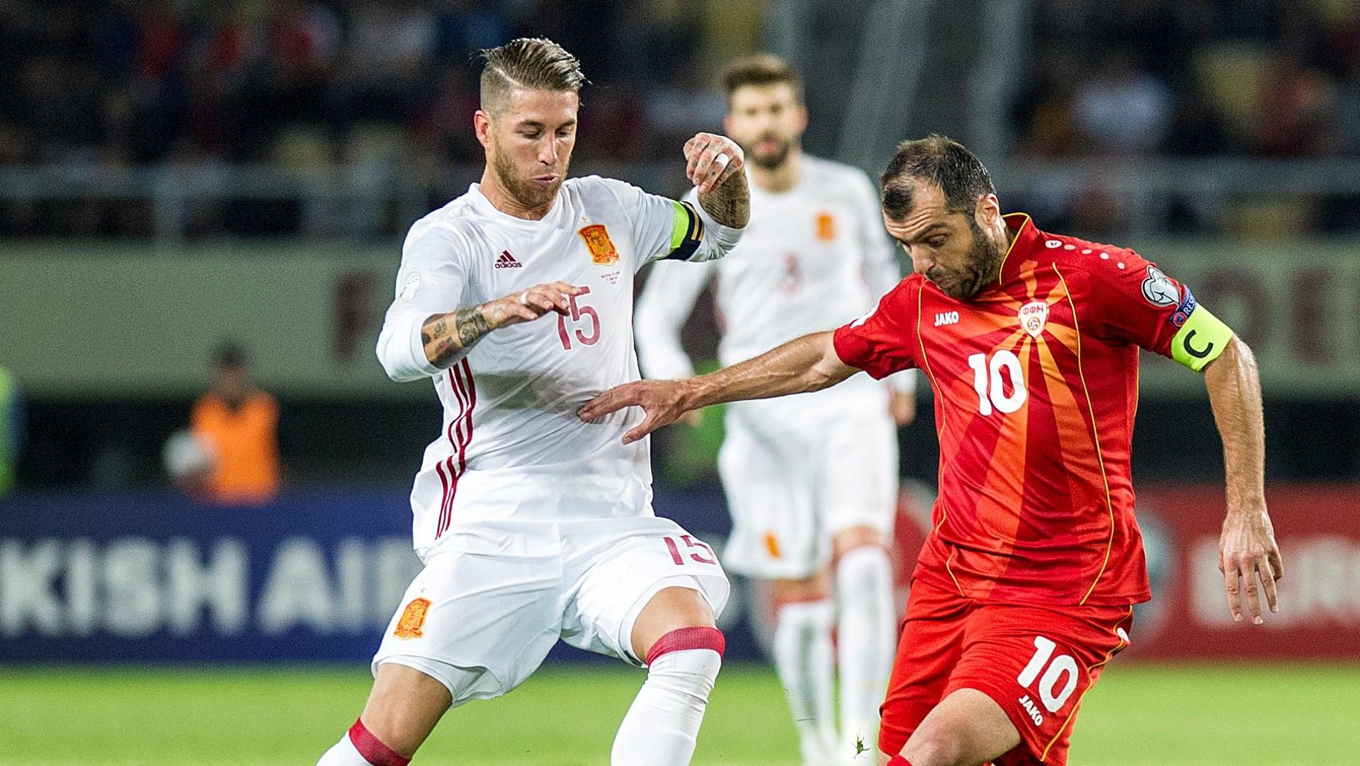 Sergio Ramos Goran Pandev Spain Macedonia 11062017