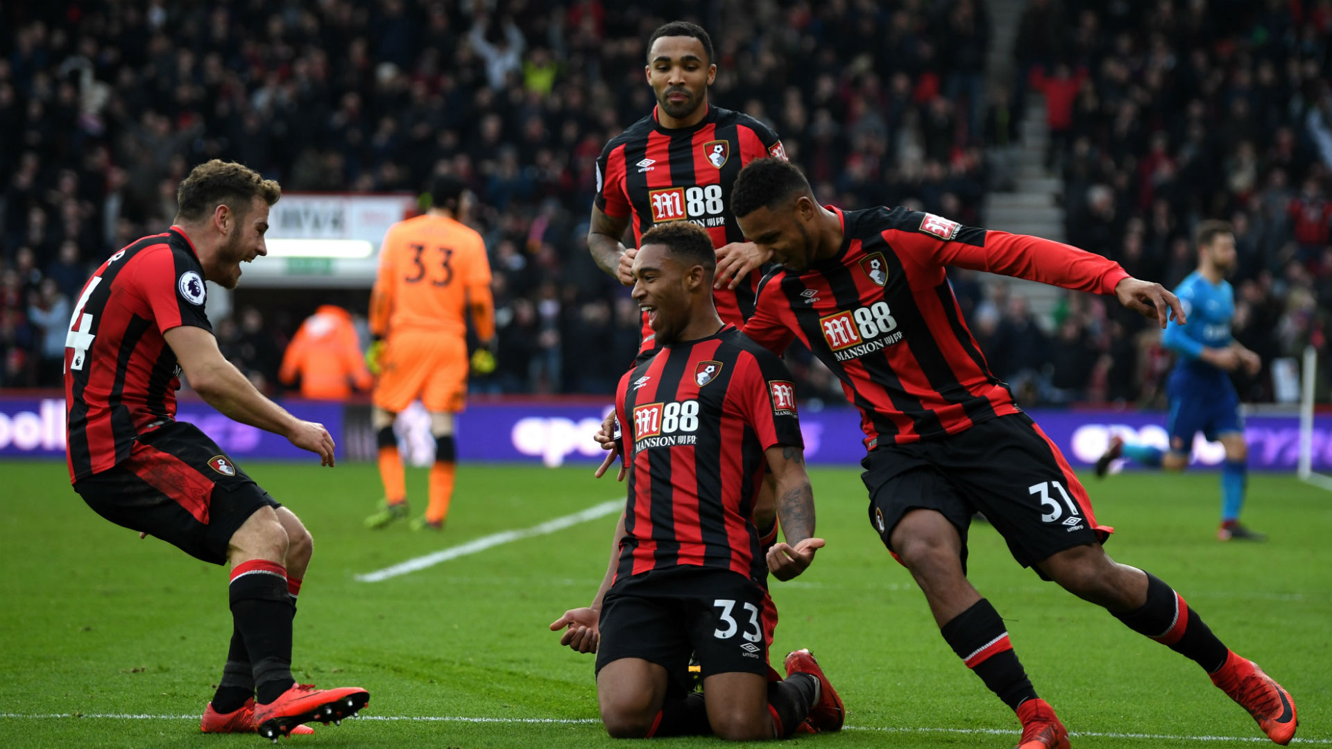 Jordan Ibe Bournemouth celebrate vs Arsenal