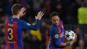 Neymar Pique Barcelona PSG Champions League