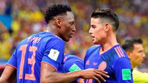 Yerry Mina and James Rodridguez. Colombia
