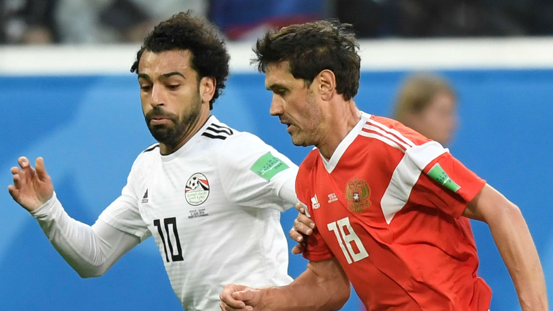 Mohamed Salah Egypt Yuri Zhirkov Russia World Cup