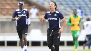 Hassan Oktay of Gor Mahia celebrates after the derby.