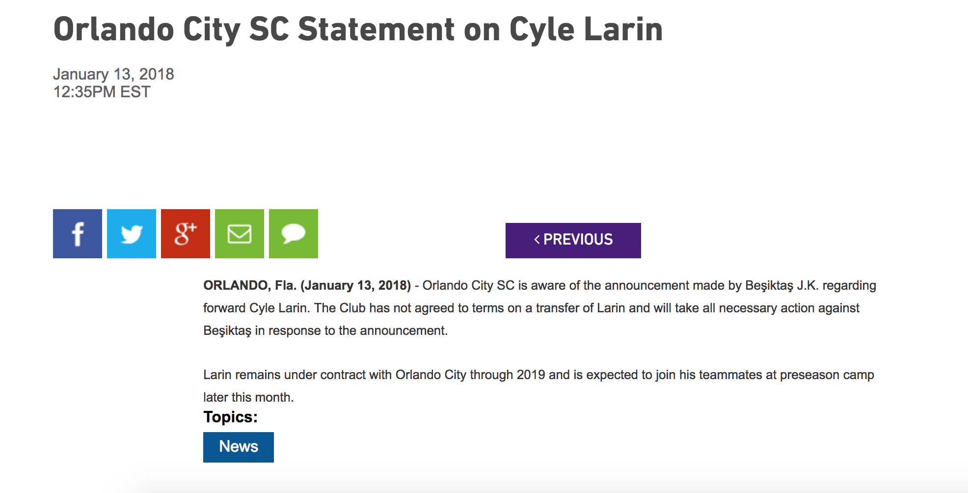 Orlando City statement on Cyle Larin