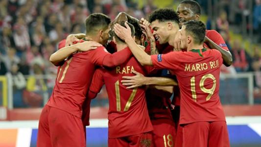 Portugal celebrating Poland Portugal UEFA Nations League