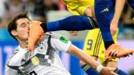 Sebastian Rudy Germany get kicked in the face vs Sweden in World Cup 2018