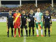 Selangor and Melaka United captain pose for a photo along with the match officials before their league match 27/1/2017