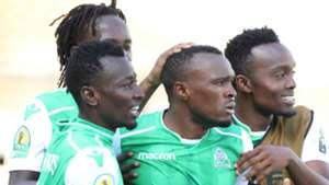 Jacques Tuyisenge of Gor Mahia celebrates Shafik Batambuze against Lobi Stars of Nigeria.
