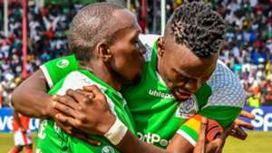 Meddie Kagere and Haroun Shakava of Gor Mahia.