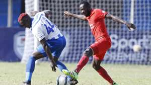 AFC Leopards defender David Ochieng Cheche and Collins Agade of Bandari FC.