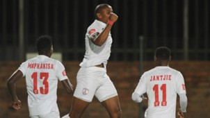 Thamsanqa Teyise celebrates with Free State Stars team-mates