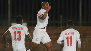 Thamsanqa Teyise celebrates with Free State Stars team-mates