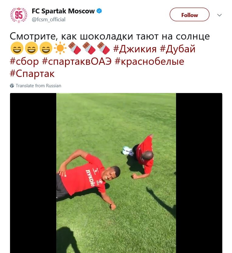 Russian football club criticised for tweet referencing black players as melting chocolates