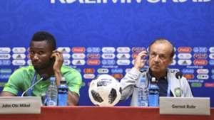 John Obi Mikel and Gernot Rohr of Nigeria