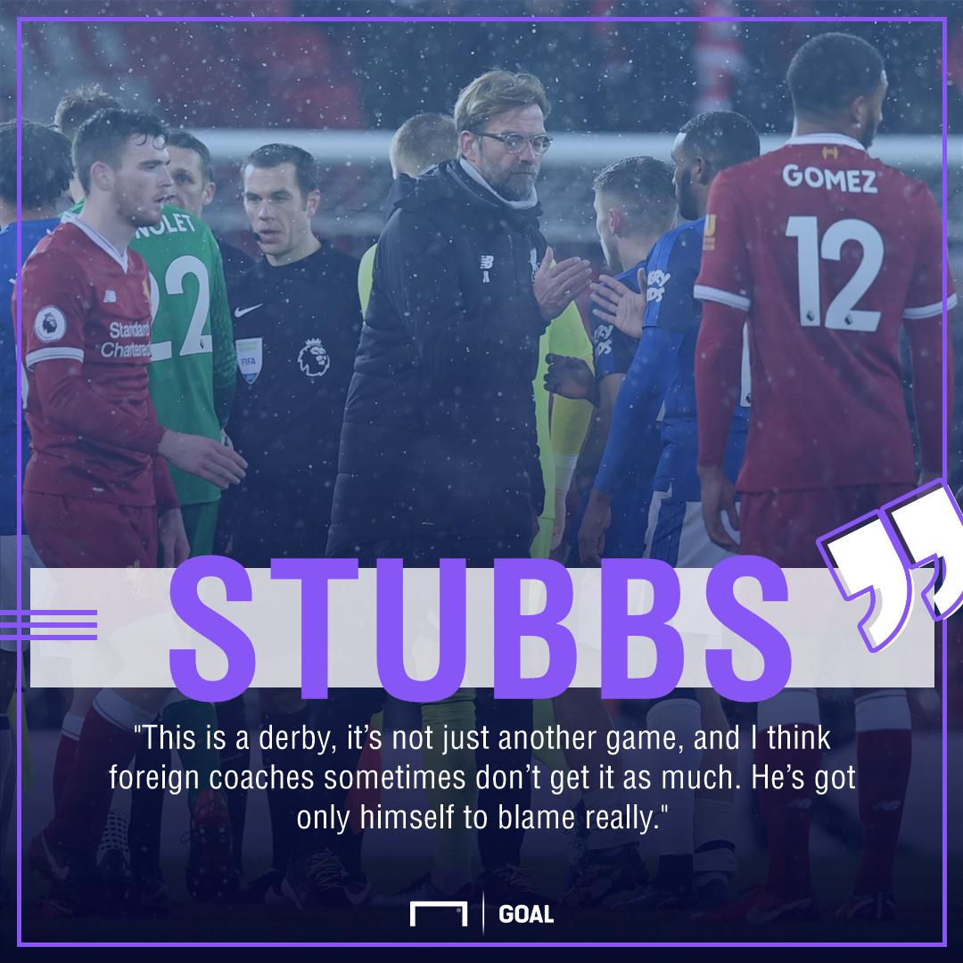 Alan Stubbs Jurgen Klopp Liverpool derby blame