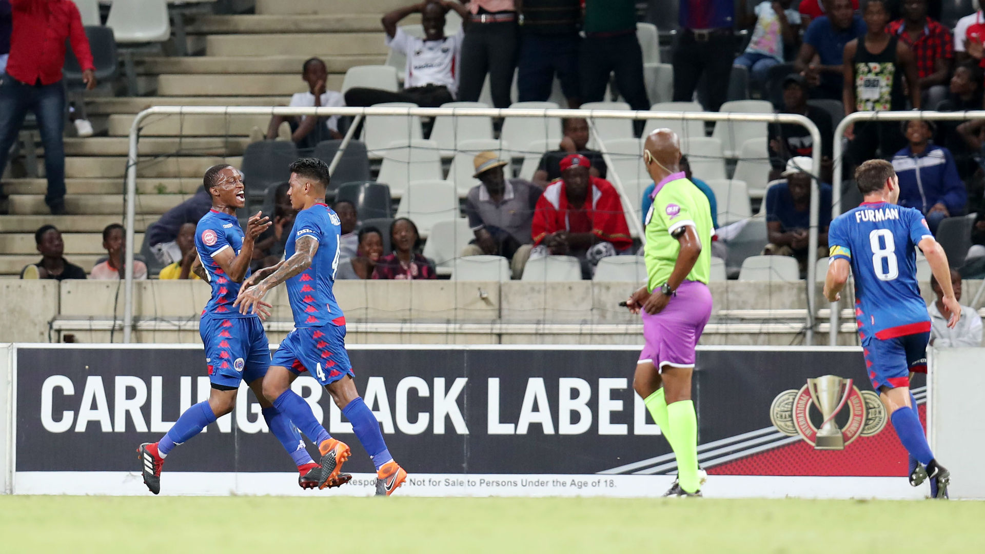 Grant Kekana, Clayton Daniels & Dean Furman, SuperSport United, February 2019