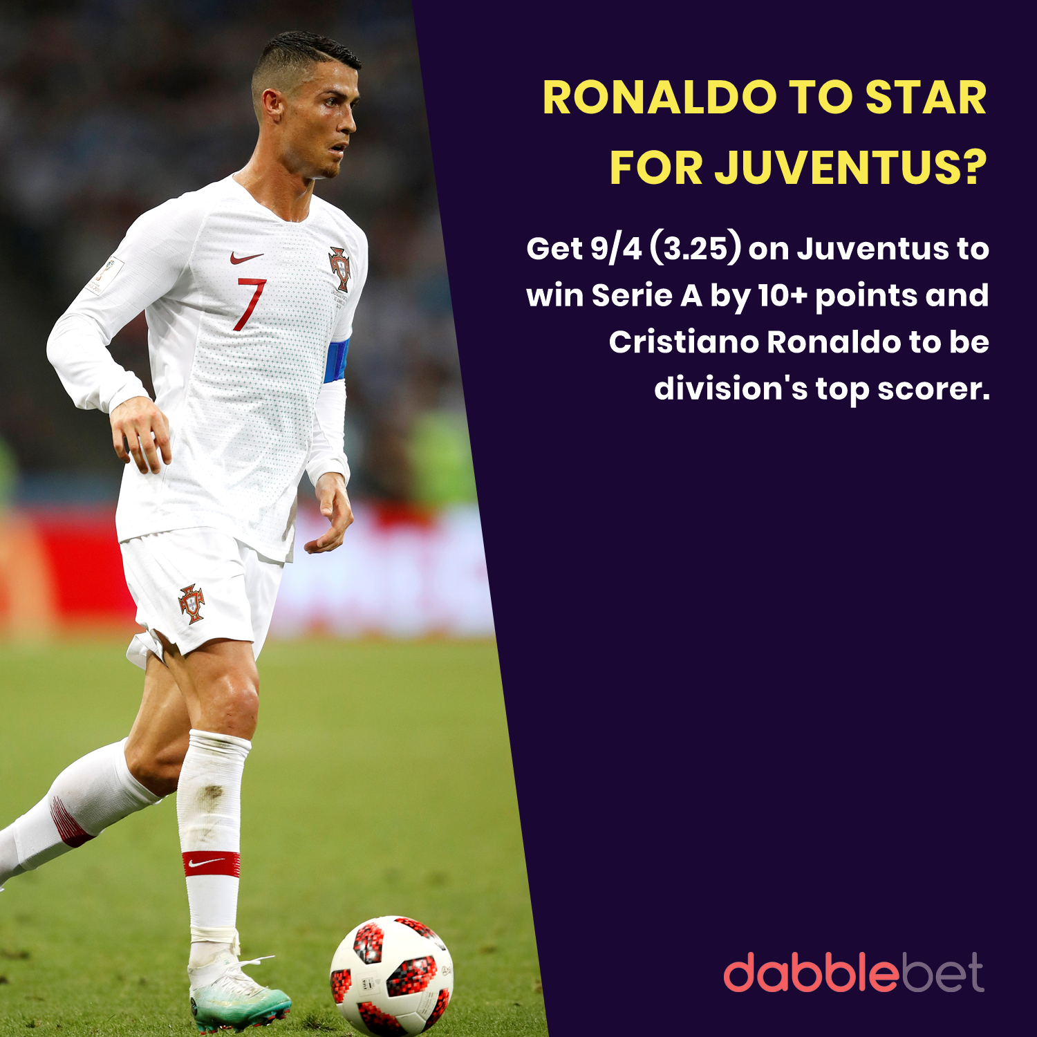 dabblebet enhanced odds Ronaldo and Juventus Serie A
