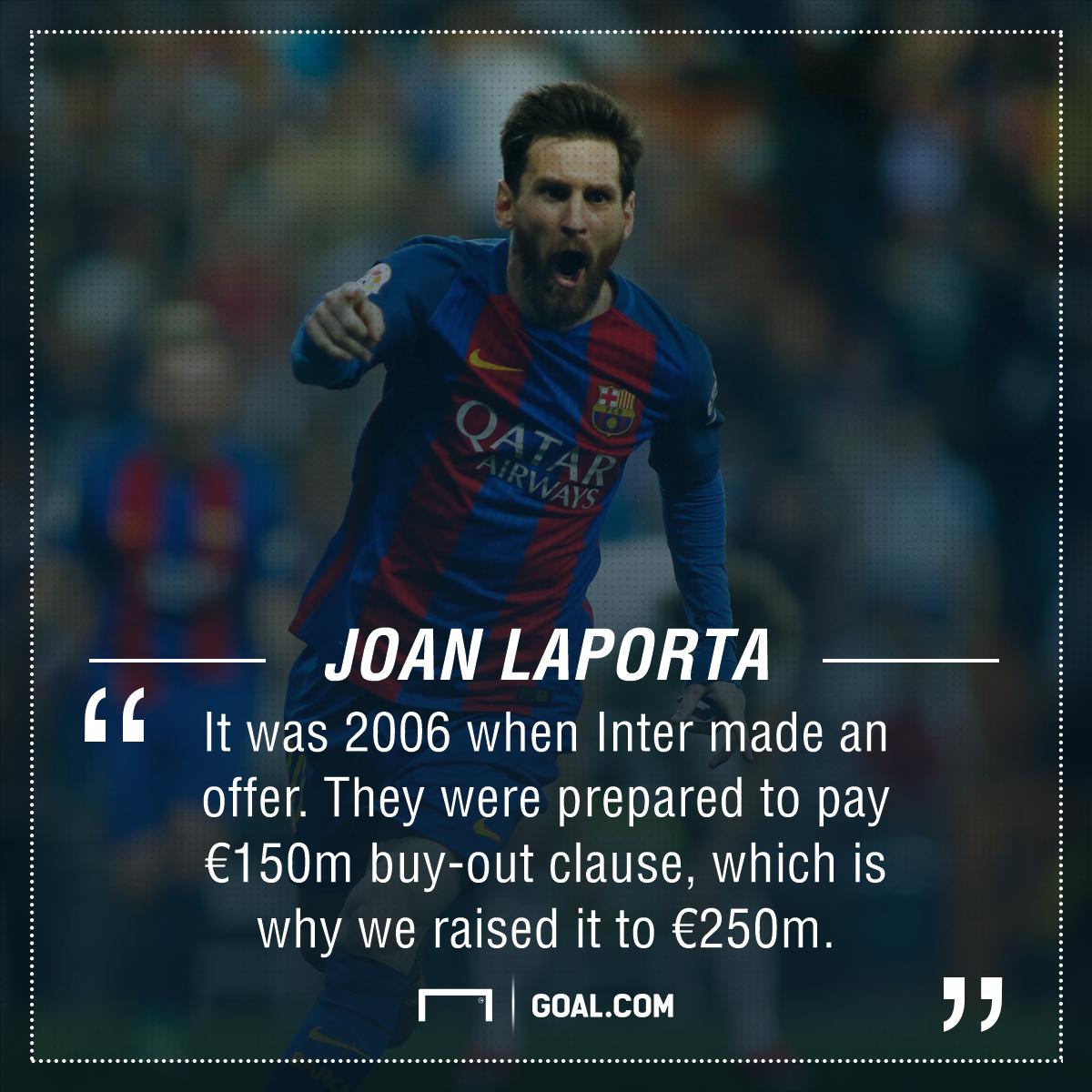 Lionel Messi Joan Laporta Barcelona Inter