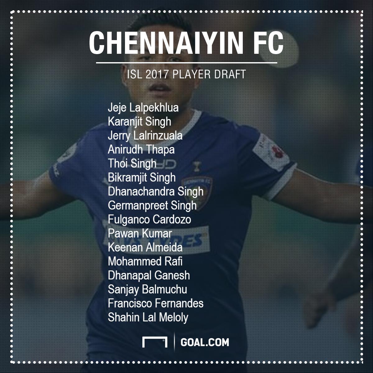 Chennaiyin FC ISL 2017 draft