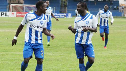 Brian Marita (R) and Yusuf Mainge of AFC Leopards.