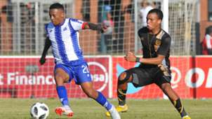 Thabiso Kutumela of Maritzburg United challenged by Wandile Shezi of Royal Eagles, May 2019