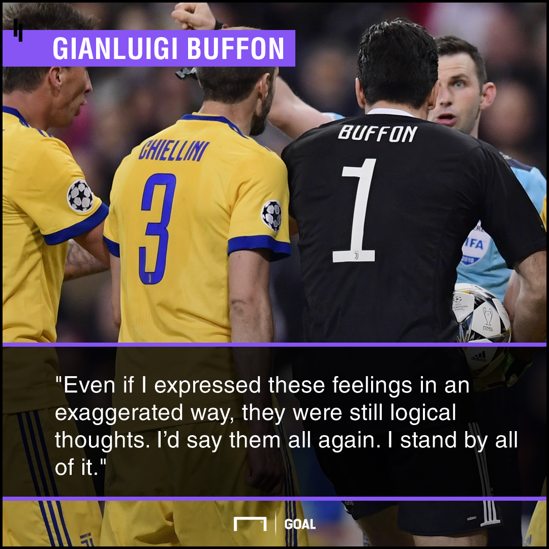Gianluigi Buffon no regrets over referee rant