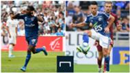 Boulaye Dia (Stade de Reims) et Adrien Thomasson (RC Strasbourg), 2ème journée de Ligue 1, le 18 août 2019
