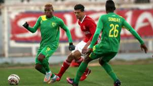 Rami Bedoui of Etoile du Sahel Plateau United Tosin Omoleye and Sunday Ngbede