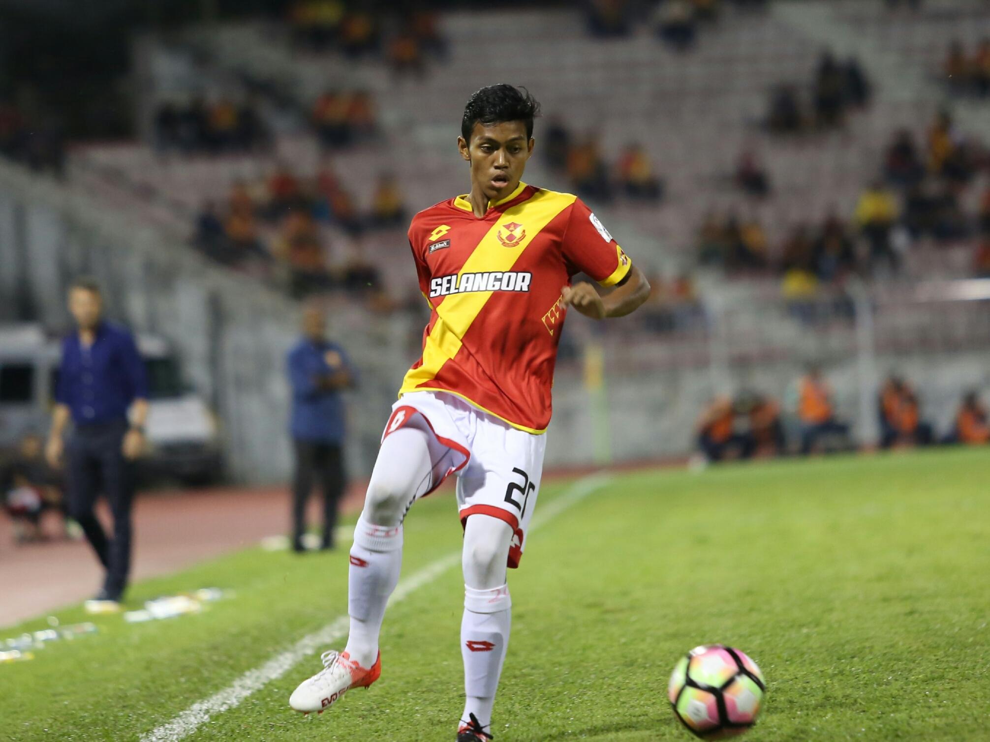 Selangor's Syahmi Safari playing against Pulau Pinang 21/1/2017