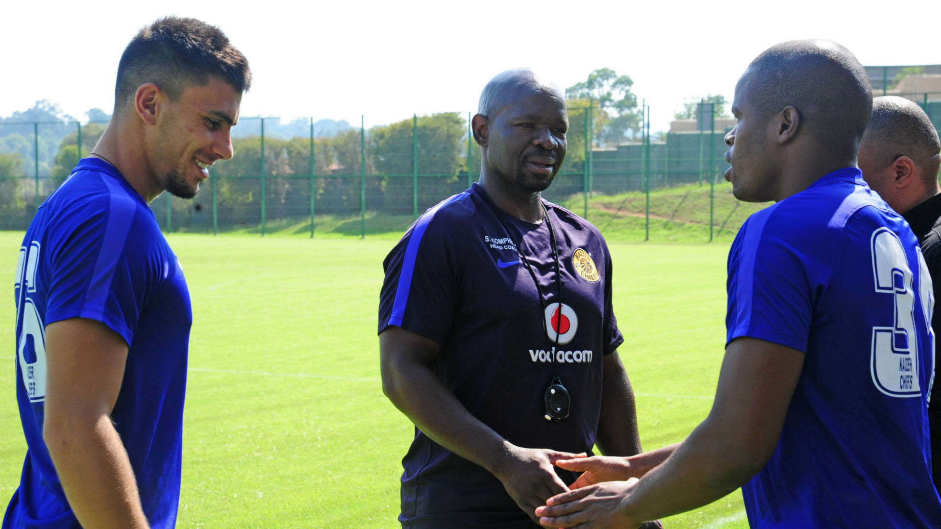 Lorenzo Gordinho, Steve Komphela and Willard Katsande of Kaizer Chiefs