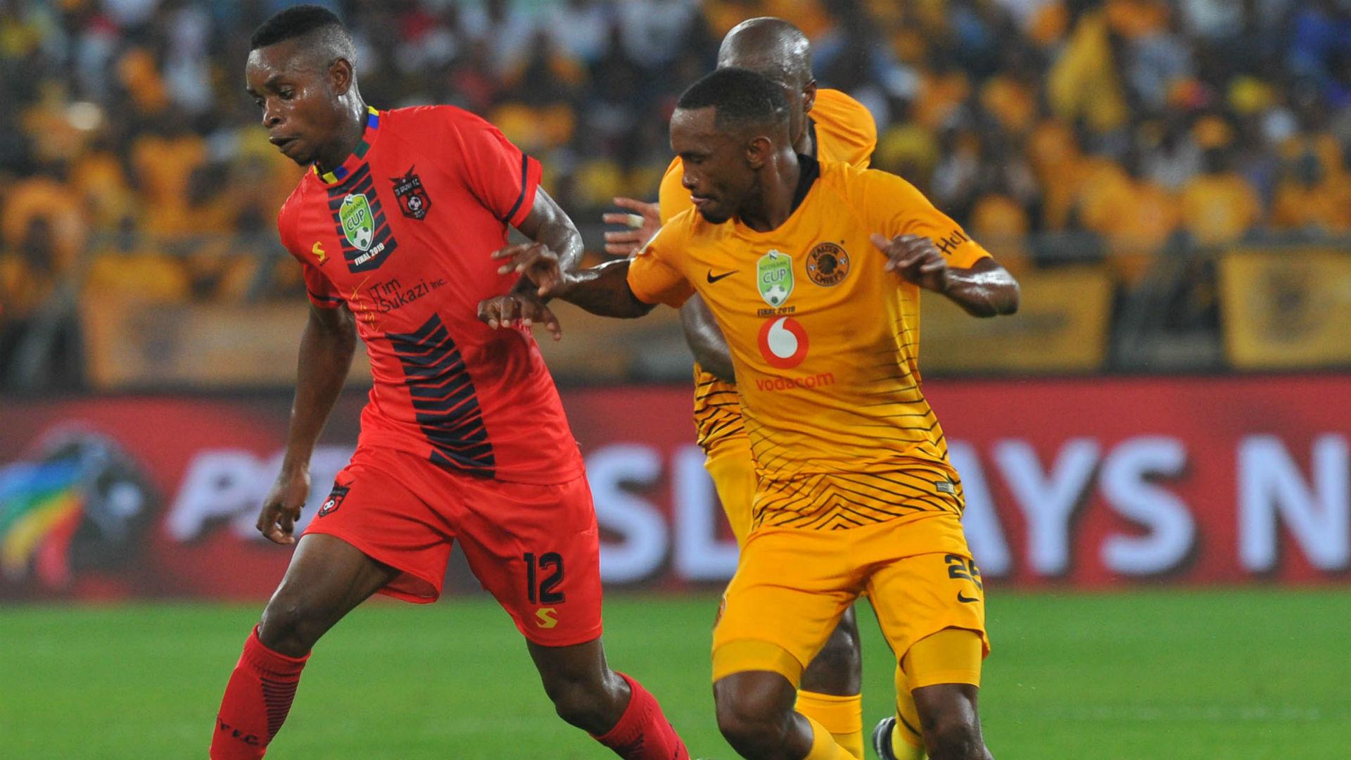Nation Ndlovu of TS Galaxy challenged by Bernard Parker of Kaizer Chiefs, May 2019