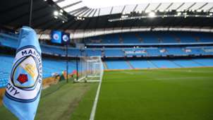 Manchester City logo | Etihad Stadium general view