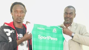 Shafiq Batambuze with Gor Mahia CEO Omondi Aduda.