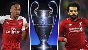 Pierre Emerick Aubameyang Champions League trophy Mohamed Salah