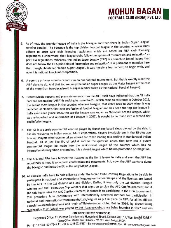 Page 2 - Mohun Bagan letter to PM Modi