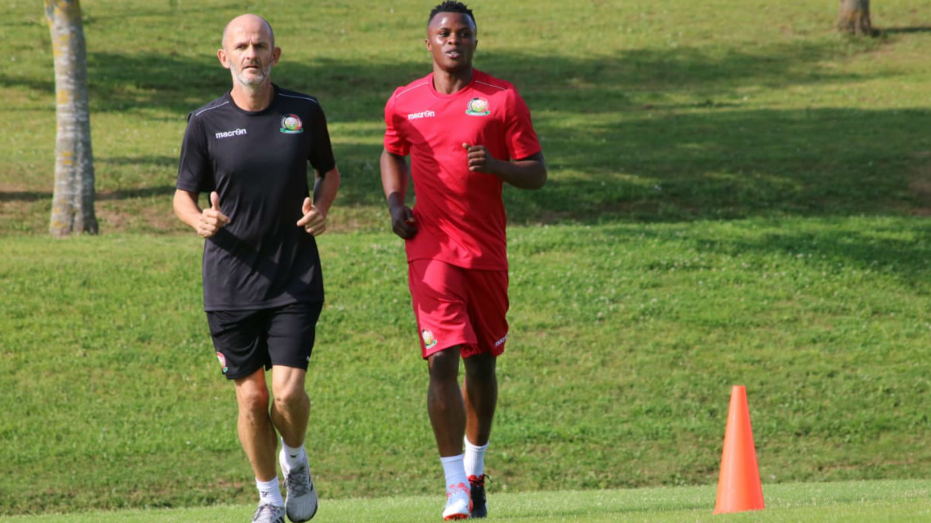 Ayub Timbe of Kenya Harambee Stars in training.