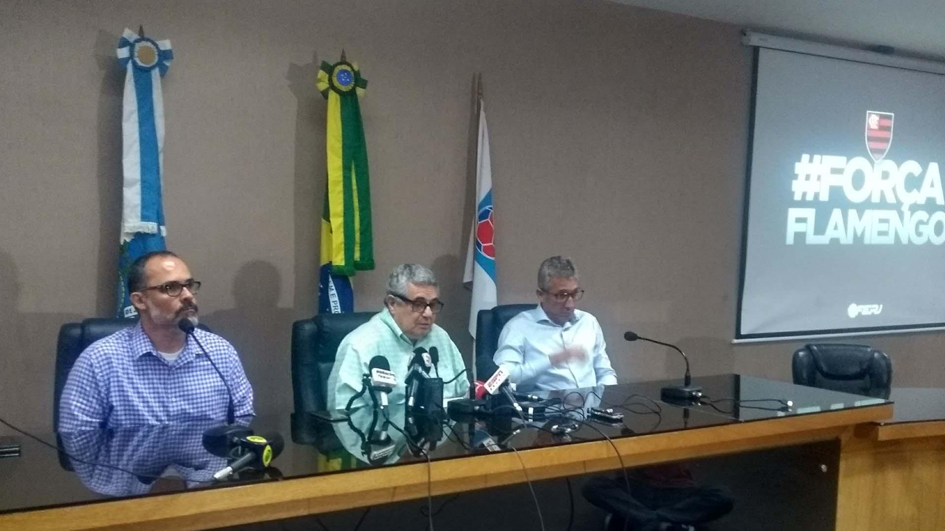 Pedro Abad, Rubens Lopes e Alexandre Campelo reunião Ferj incêndio CT Flamengo 08 02 19