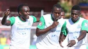 Gor Mahia players celebrate goal against Ksharks
