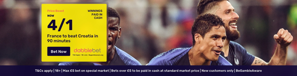 World Cup final price boost dabblebet footer