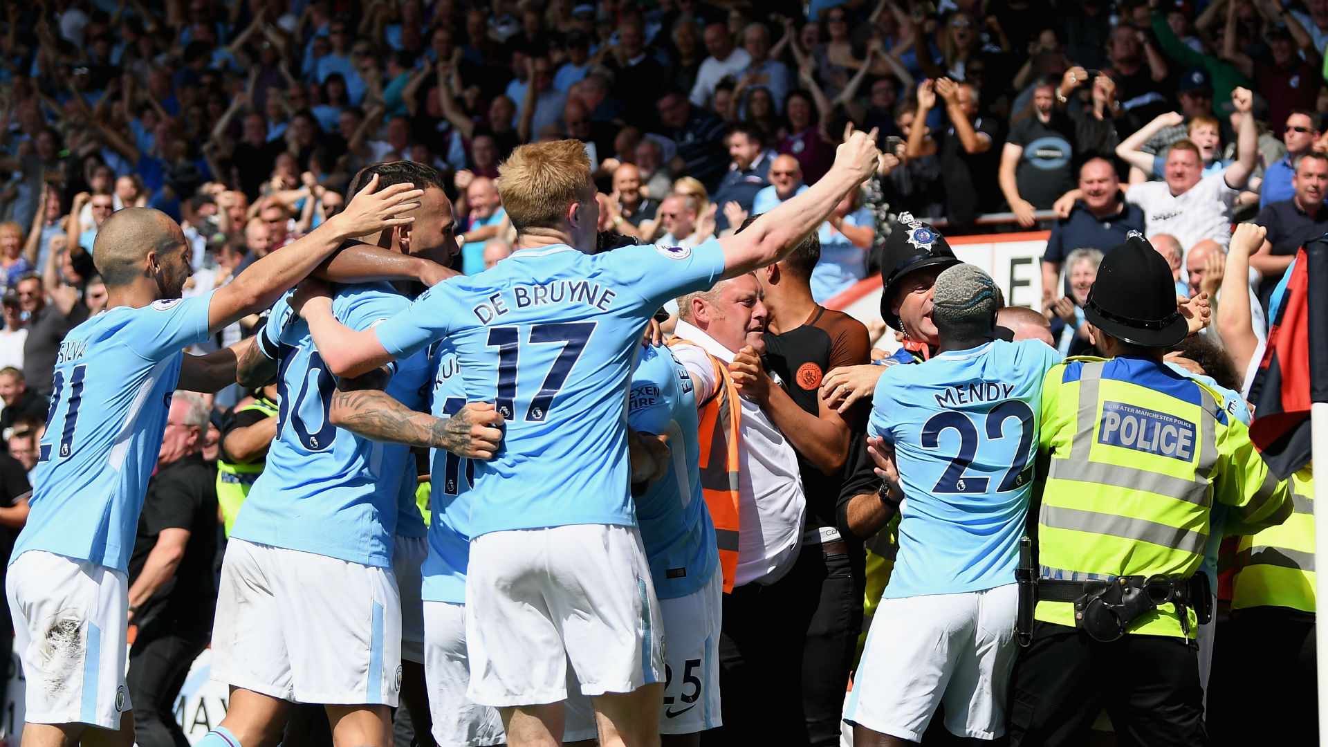 But two men are arrested after Man City goal celebration