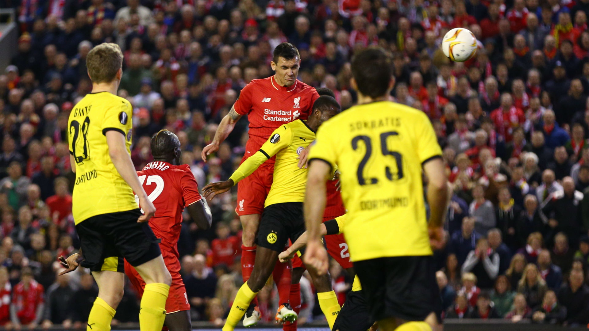Dejan Lovren scores against Borussia Dortmund