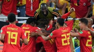 Belgium celebrate goal World Cup