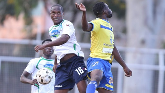 Suleiman Ngotho of Thika United heads with Raymond Murungi (1).j