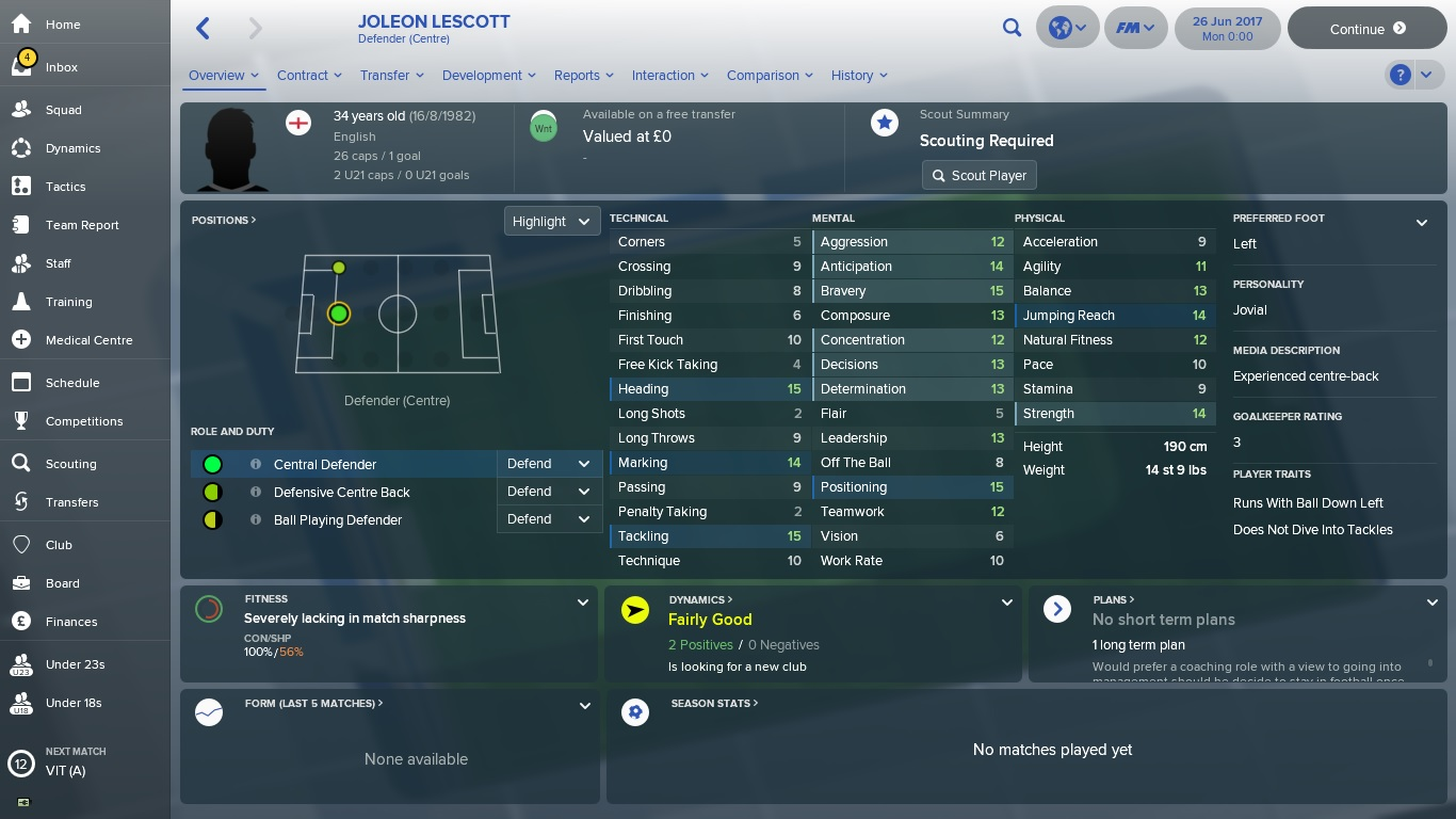 Football Manager 2018 Joleon Lescott
